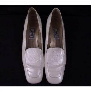 VTG Gianni Versace Pearl White Medusa Loafers